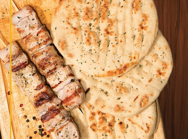 Handmade pita bread for souvlaki